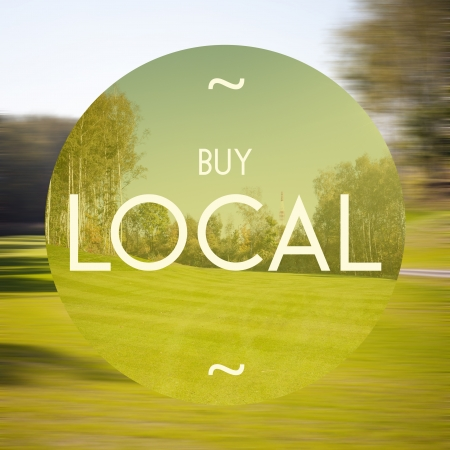 Buy local poster, illustration of business Stock Photo