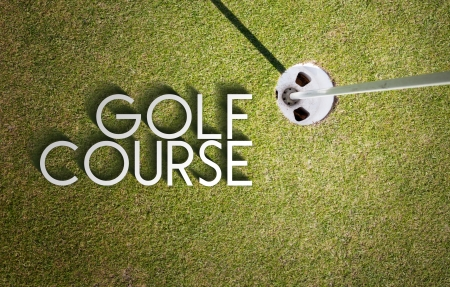Golf course design with photography and typography photo