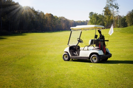 Golf-cart car on golf course landscape Stock Photo