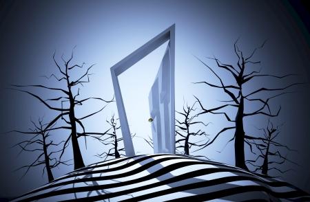 nightmare: Nightmare scene in scary horror style, Halloween illustration