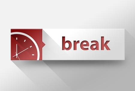 break in: 3d Break time in work flat design illustration
