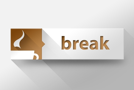3d Coffee break time flat design illustration illustration