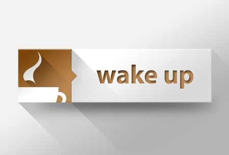 wake up: 3d Wake up with coffee flat design illustration