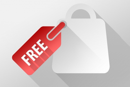 widget: Free shopping bag widget and icon, 3d illustration flat design