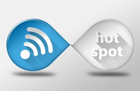 hot spot: Free internet wifi hot spot, 3d illustration flat design