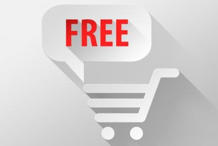 widget: Free shopping widget and icon, 3d illustration flat design