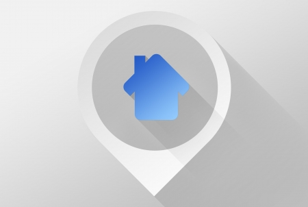 Home on Map tag location pin icon and widget, 3d illustration flat design illustration