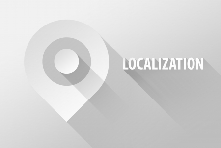 localization: Localization tag location pin icon and widget, 3d illustration flat design
