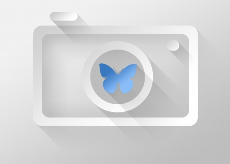 macro photography: Macro photography in Camera icon, 3d illustration flat design Stock Photo