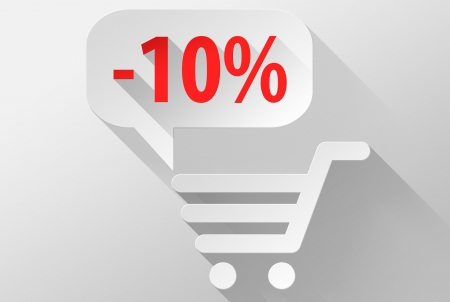 ebuy: Shopping Sale 10% widget and icon, 3d illustration flat design Stock Photo