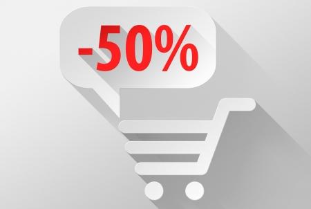 ebuy: Shopping Sale 50% widget and icon, 3d illustration flat design Stock Photo