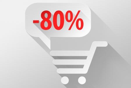 ebuy: Shopping Sale 80% widget and icon, 3d illustration flat design