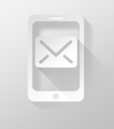 widget: Smartphone or Tablet with E-mail icon and widget, 3d illustration flat design Stock Photo