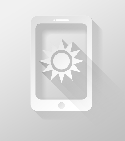 widget: Smartphone or Tablet with Weather icon and widget, 3d illustration flat design