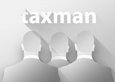 collector: Tax collector concept, 3d illustration flat design Stock Photo