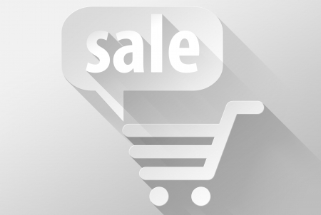 Shopping cart and sale widget and icon, 3d illustration flat design illustration