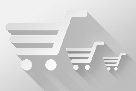 ebuy: Shopping cart and sale widget and icon, 3d illustration flat design