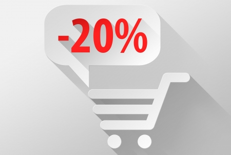 Shopping Sale 20% widget and icon, 3d illustration flat design illustration