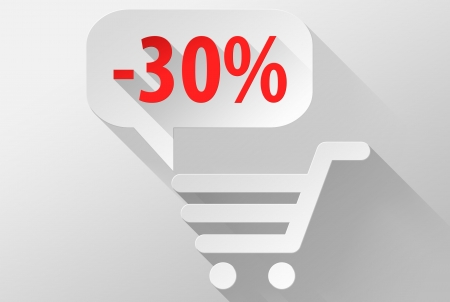 ebuy: Shopping Sale 30% widget and icon, 3d illustration flat design