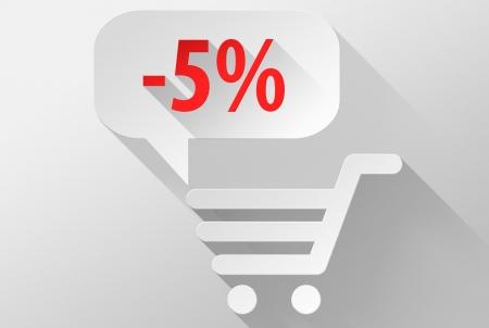 ebuy: Shopping Sale 5% widget and icon, 3d illustration flat design Stock Photo