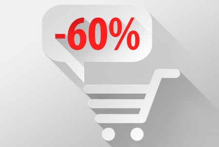 ebuy: Shopping Sale 60% widget and icon, 3d illustration flat design