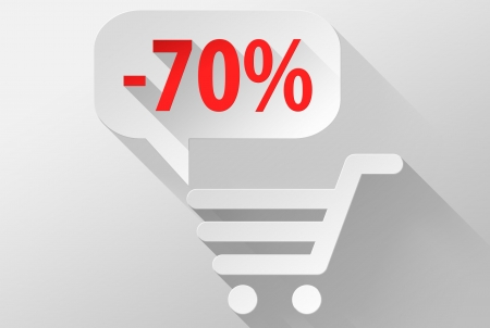 ebuy: Shopping Sale 70% widget and icon, 3d illustration flat design