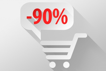 widget: Shopping Sale 90% widget and icon, 3d illustration flat design