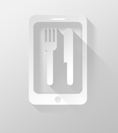 widget: Smartphone or Tablet Cooking icon and widget 3d illustration flat design Stock Photo