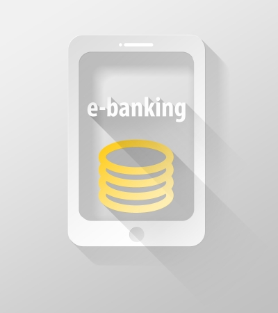 widget: Smartphone or Tablet E-banking icon and widget, 3d illustration flat design Stock Photo