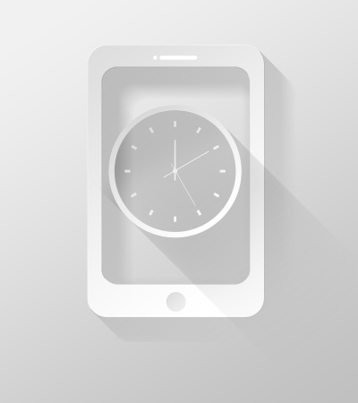 Smartphone or Tablet with Clock icon and widget 3d illustration flat design illustration
