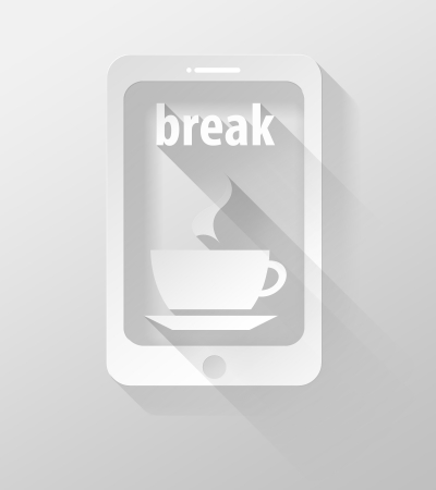 widget: Smartphone or Tablet with Coffee time icon and widget 3d illustration flat design