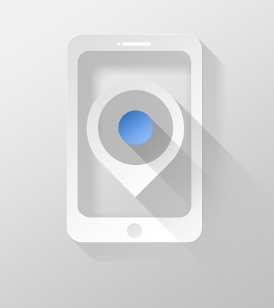 Smartphone or Tablet with GPS pin icon and widget 3d illustration flat design illustration