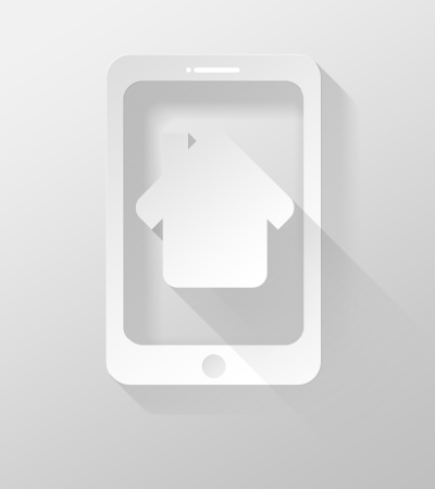 widget: Smartphone or Tablet with Home icon and widget 3d illustration flat design Stock Photo