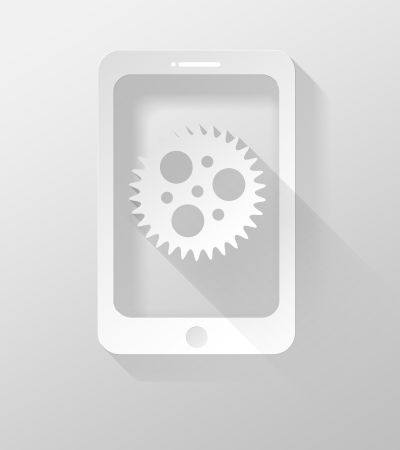 widget: Smartphone or Tablet with Settings icon and widget 3d illustration flat design