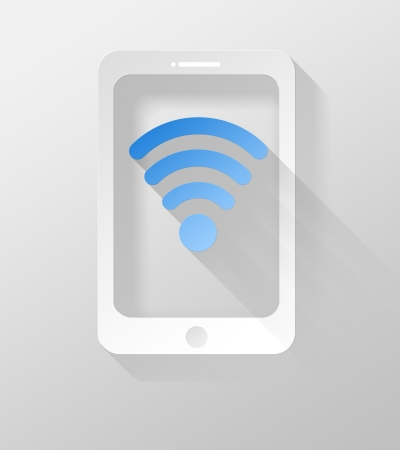 widget: Smartphone or Tablet with Wifi internet icon and widget 3d illustration flat design Stock Photo