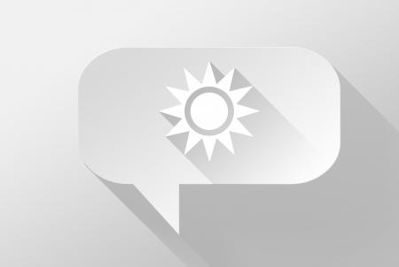 widget: Sunny weather in bubble speech widget and icon 3d illustration flat design