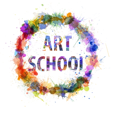 Art school concept, watercolor splashes as a sign isolated on white photo