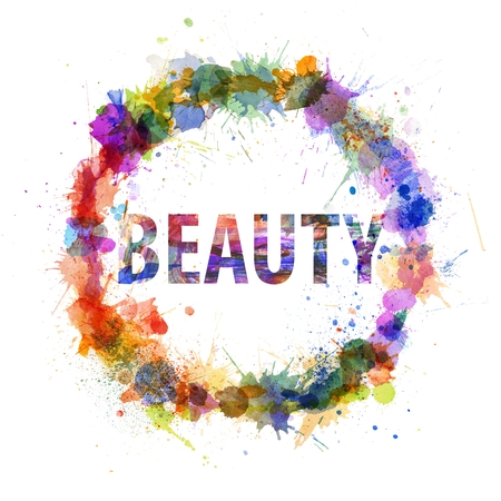 Beauty concept, watercolor splashes as a sign isolated on white photo