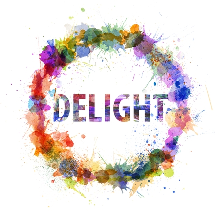 Delight concept, watercolor splashes as a sign isolated on white photo