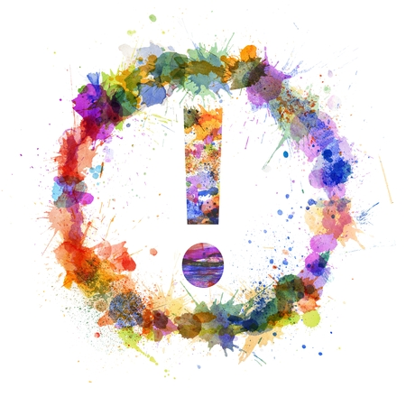 Exclamation mark concept, watercolor splashes as a sign isolated on white photo