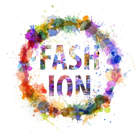 Fashion concept, watercolor splashes as a sign isolated on white photo
