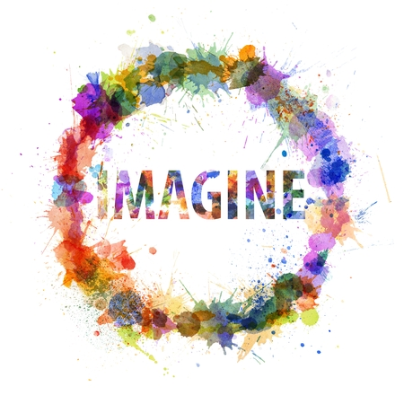Imagine concept, watercolor splashes as a sign isolated on white Imagens