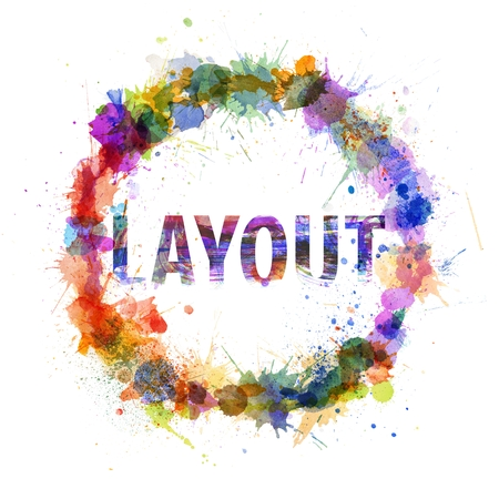 Layout concept, watercolor splashes as a sign isolated on white photo