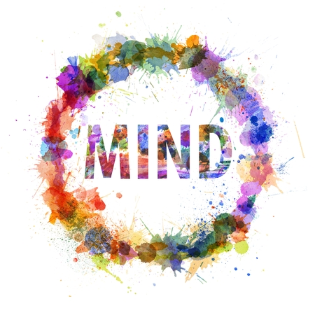 Mind concept, watercolor splashes as a sign isolated on white photo