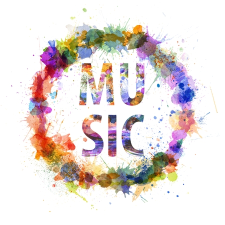 Music concept, watercolor splashes as a sign isolated on white photo