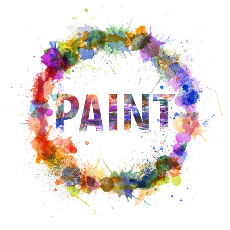 Paint concept, watercolor splashes as a sign isolated on white photo