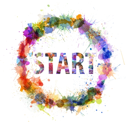 Start concept, watercolor splashes as a sign isolated on white photo