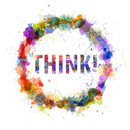 Think concept, watercolor splashes as a sign isolated on white Stock Photo