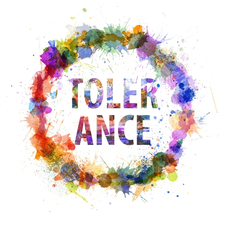 tolerance: Tolerance concept, watercolor splashes as a sign isolated on white