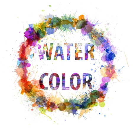 Watercolor concept, splashes as a sign isolated on white photo